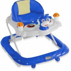 Premergator cu 4 roti si protectie trepte Bambi Light Blue Bertoni, 0-6 luni, Plastic, Albastru
