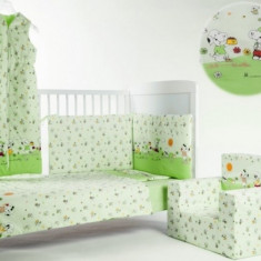 Lenjerie 4 piese 120 x 60 Snoopy Catelusul BebeDeco - Lenjerie pat copii BebeDeco, Verde