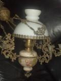 Deosebita lampa din majolica si bronz masiv opalina,stare exceptionala