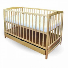Patut copii Natur cu sertar 120 x 60 cm First Smile - Patut lemn pentru bebelusi First Smile, Maro