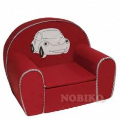 Fotoliu Mini Rosu cu Masinuta Nobiko - Set mobila copii