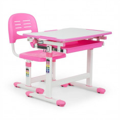 ONECONCEPT Annika, birou de scris pentru copii, set de două piese, masă, scaun, reglabil pe înălțime, roz - Masa biliard