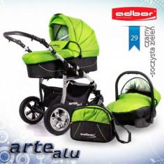 Carucior 3 in 1 Arte Alu 3x3 29 (Verde cu Negru) Adbor - Carucior copii 3 in 1