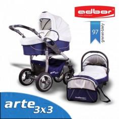 Carucior 3 in 1 Arte 3x3 97 (Albastru cu Alb) Adbor - Carucior copii 3 in 1