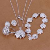 Set bijuterii placat argint 925 cercei dama ,bratara,inel ,lant si pandantiv