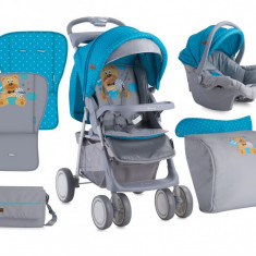 Carucior 2 in 1 Foxy cu husa de picioruse Blue & Grey Hello Bear Lorelli - Carucior copii 2 in 1