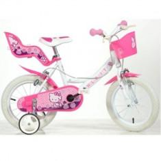 Bicicleta seria Hello Kitty 14 inch Dino Bikes - Bicicleta copii Dino Bikes, Roz