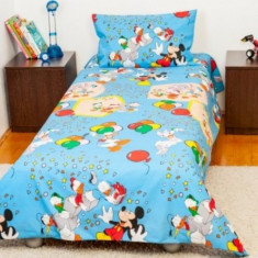 Lenjerie pat copii 1 persoana Mickey Mouse BebeDeco, Roz