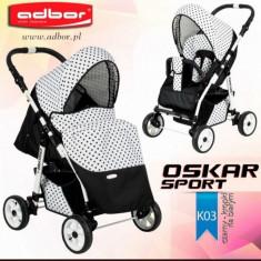 Carucior sport Oskar Sport K03 (Negru si Alb cu buline) Adbor - Carucior copii Sport