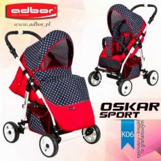 Carucior sport Oskar Sport K06 (Rosu si Grafit cu buline) Adbor - Carucior copii Sport