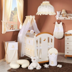 Lenjerie patut 5 piese 120 x 60 Ursulet Crem Mamo-Tato - Lenjerie pat copii