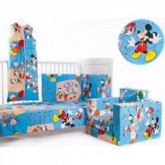 Lenjerie 4 piese 120 x 60 Mickey si prietenii lui BebeDeco - Lenjerie pat copii BebeDeco, Verde