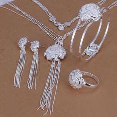 Set bijuterii placat argint 925 colier, bratara, inel si cercei poze reale - Set bijuterii argint