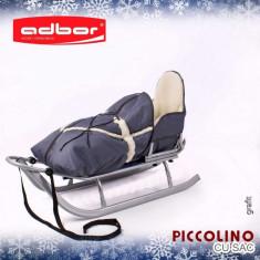 Saniuta pentru copii Piccolino cu saculet Graphit Adbor - Sanie