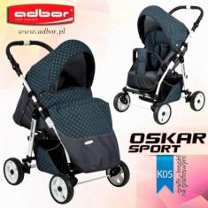 Carucior sport Oskar Sport K05 (Grafit cu Buline Turquoise) Adbor - Carucior copii Sport