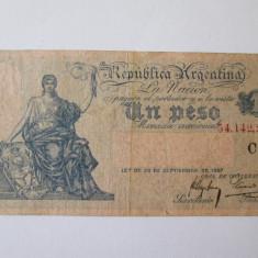 Rara! Bancnota Argentina 1 Peso 1897 - bancnota america