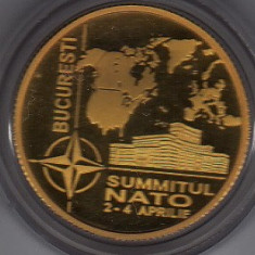 BNR 100 lei 2008 aur 6, 45 grame Summitul NATO Bucuresti - Moneda Romania