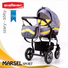 Carucior 3 in 1 Marsel Sport 114 (Gri deschis cu Galben) Adbor - Carucior copii 3 in 1