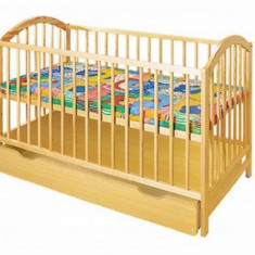 Patut din lemn cu sertar Ewelina I Klups - Patut lemn pentru bebelusi Klups, 120x60cm, Galben