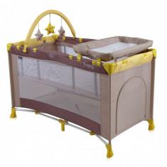 Patut pliant Penny 2 Plus 120 x 60 cm Beige&Yellow Lorelli - Patut pliant bebelusi Lorelli, Crem