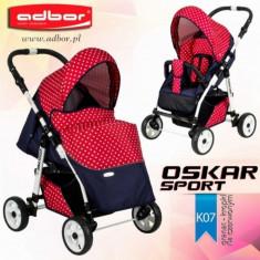 Carucior sport Oskar Sport K07 (Grafit si Rosu cu buline) Adbor - Carucior copii Sport