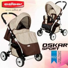Carucior sport Oskar Sport K02 (Maro si Bej cu buline) Adbor - Carucior copii Sport