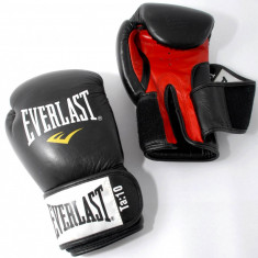 Manusi de box 10 oz - Everlast Fighter - din piele - Negre - Noi - Originale - Manusi box