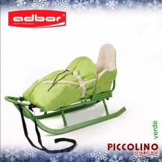 Saniuta pentru copii Piccolino cu saculet Verde Adbor - Sanie