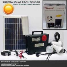 Kit Panou Solar Mare Acumulator 12V 7, 5A, 3 Becuri LED USB Radio MP3 Lampa LED