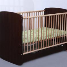 Patut Copii Lemn cu Sertar Serena Cu Leganare 3614 MyKids - Patut lemn pentru bebelusi MyKids, 120x60cm, Maro
