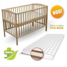 Patut Natur cu Saltea Coco Lux 120 x 60 cm First Smile - Patut lemn pentru bebelusi First Smile, Maro