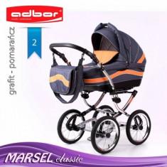 Carucior 3 in 1 Marsel Classic 2 (Gri inchis cu Portocaliu) Adbor - Carucior copii 3 in 1