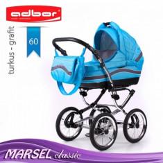 Carucior 3 in 1 Marsel Classic 60 (Albastru deschis) Adbor - Carucior copii 3 in 1