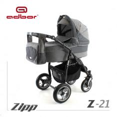 Carucior 3 in 1 Zipp Z-21 Cadru Negru Adbor - Carucior copii 3 in 1