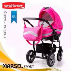 Carucior 3 in 1 Marsel Sport 53 (Fucsia cu Gri deschis) Adbor - Carucior copii 3 in 1