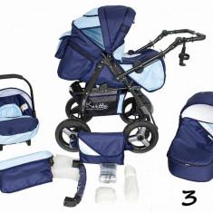 Carucior 3 in 1 cu roti gonflabile Vip 3 (Bleumarin cu Bleu) Kerttu - Carucior copii 3 in 1