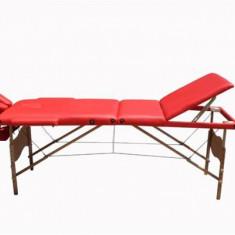 Masa de masaj portabila cu 3 sectiuni, Rosu, Lemn - Masa masaj