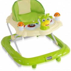 Premergator cu 4 roti si protectie trepte Bambi Green Bertoni, 0-6 luni, Plastic, Verde