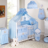 Lenjerie patut 3 piese 120 x 60 Ursulet si Iepuras Bleu + Cearceaf Cadou Mamo-Tato - Lenjerie pat copii