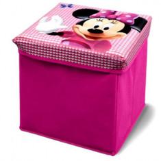Taburet si cutie depozitare jucarii Disney Minnie Mouse - Sistem depozitare jucarii