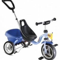 Tricicleta cu maner 75 x 48 cm CAT 1S Albastru Puky - Tricicleta copii