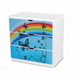 Comoda cu 3 sertare si polita birou 20 (Butterfly) Nobiko - Dulap copii