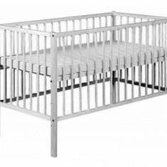 Pat lemn Radek X 120 x 60 cm Alb Klups - Patut lemn pentru bebelusi