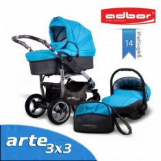 Carucior 3 in 1 Arte 3x3 14 (Grafit cu Turquoise) Adbor - Carucior copii 3 in 1