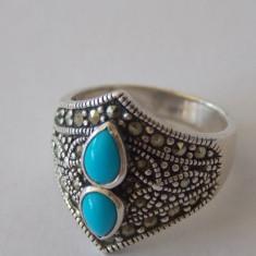 Inel argint vintage cu turcoaz si marcasite -2119