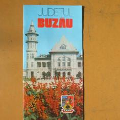 Buzau judetul harta color pliant turistic