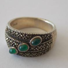 Inel argint cu marcasite si agat verde -2121
