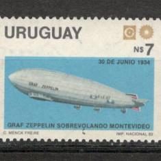 Uruguay. 1983 Zborul zeppelinului in America de Sud PC.136 - Timbre straine, Nestampilat