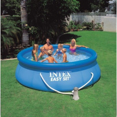 Piscina Easy Set INTEX 396x84cm, cu pompa de filtrare apa inclusa, noua - Piscina copii Intex, Unisex, Bleu