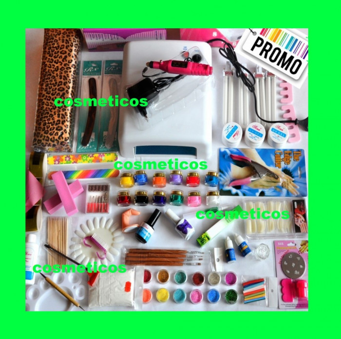 Kit unghii false gel-lampa,freza,cleste,12 geluri colorate, suport -KIT TRENDY